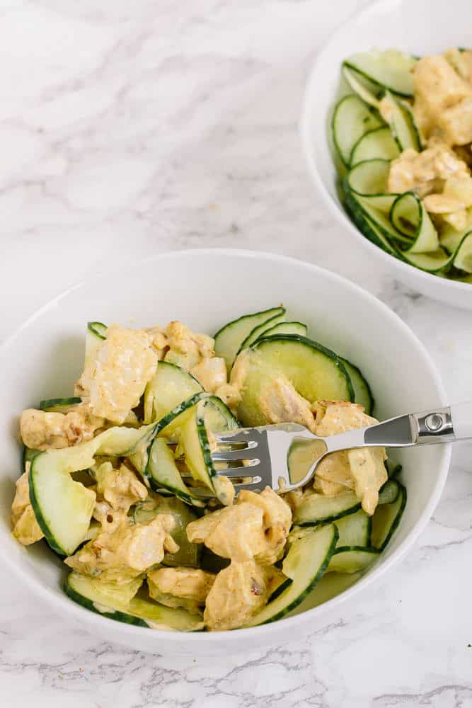 Curried Chicken Salad with cucumbers